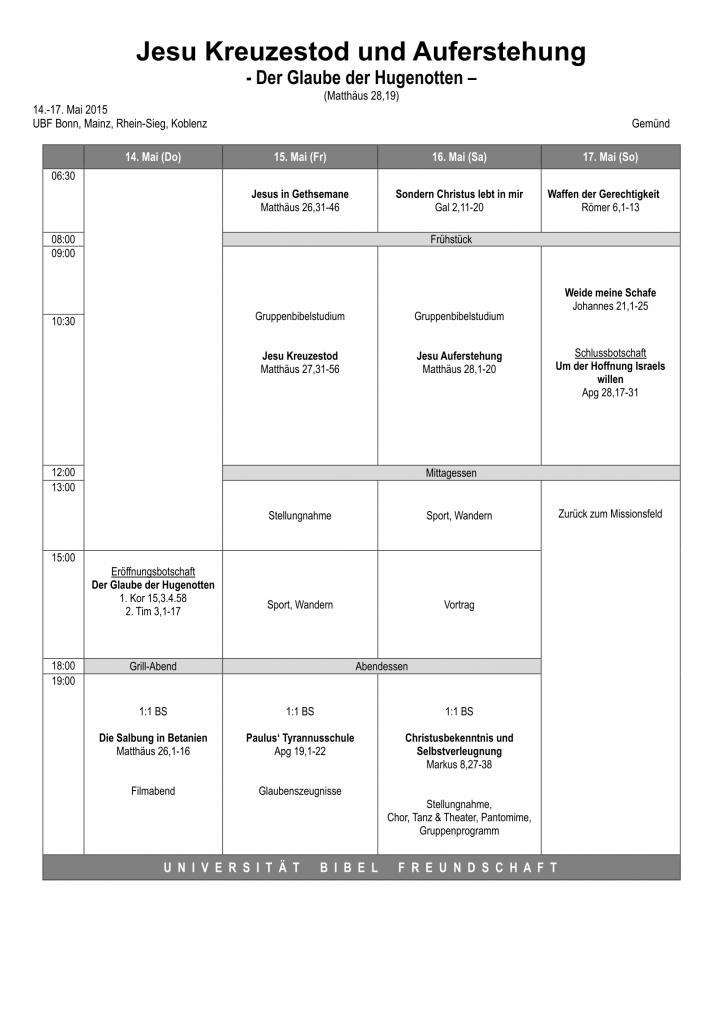 Programm der Frühlingsbibelkonferenz